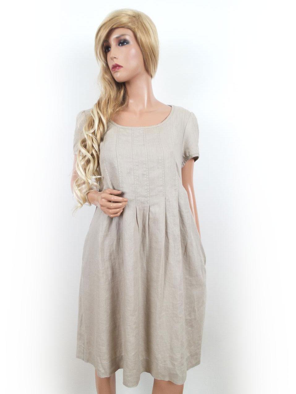 0b5dea2b300d Jackpot storlek 36 klänning fickor 100% linne beige | RomanticFashion.se