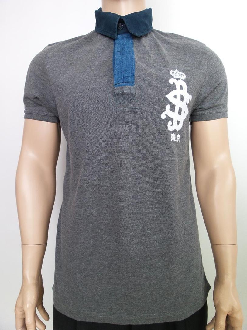 Superdry Polo Shirt Grosse M Logo Hecht Grau Baumwolle