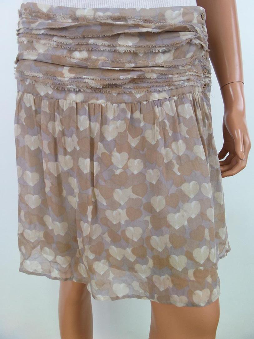 8acc6b88cb Details about Kookai size 10 Skirt heart beige silk