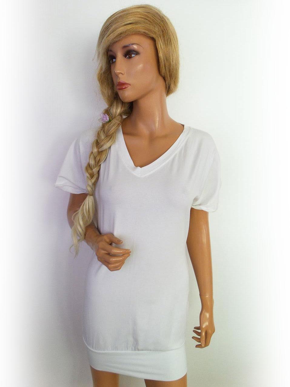 Guarapo-Womens-Frauen-Dame-Groesse-S-Neu-White-Shift-Kleid-Kurze-Armel
