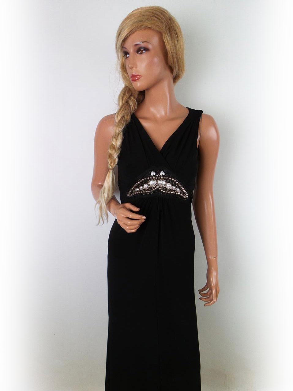 Dunnes butiker size 10 (38) Lång svart klänning pärla
