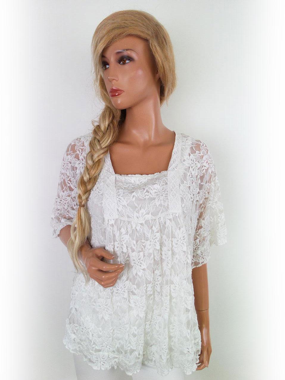 4b336265897b ... Isolde størrelse M romantisk tunika kort ærme hvid blonde.