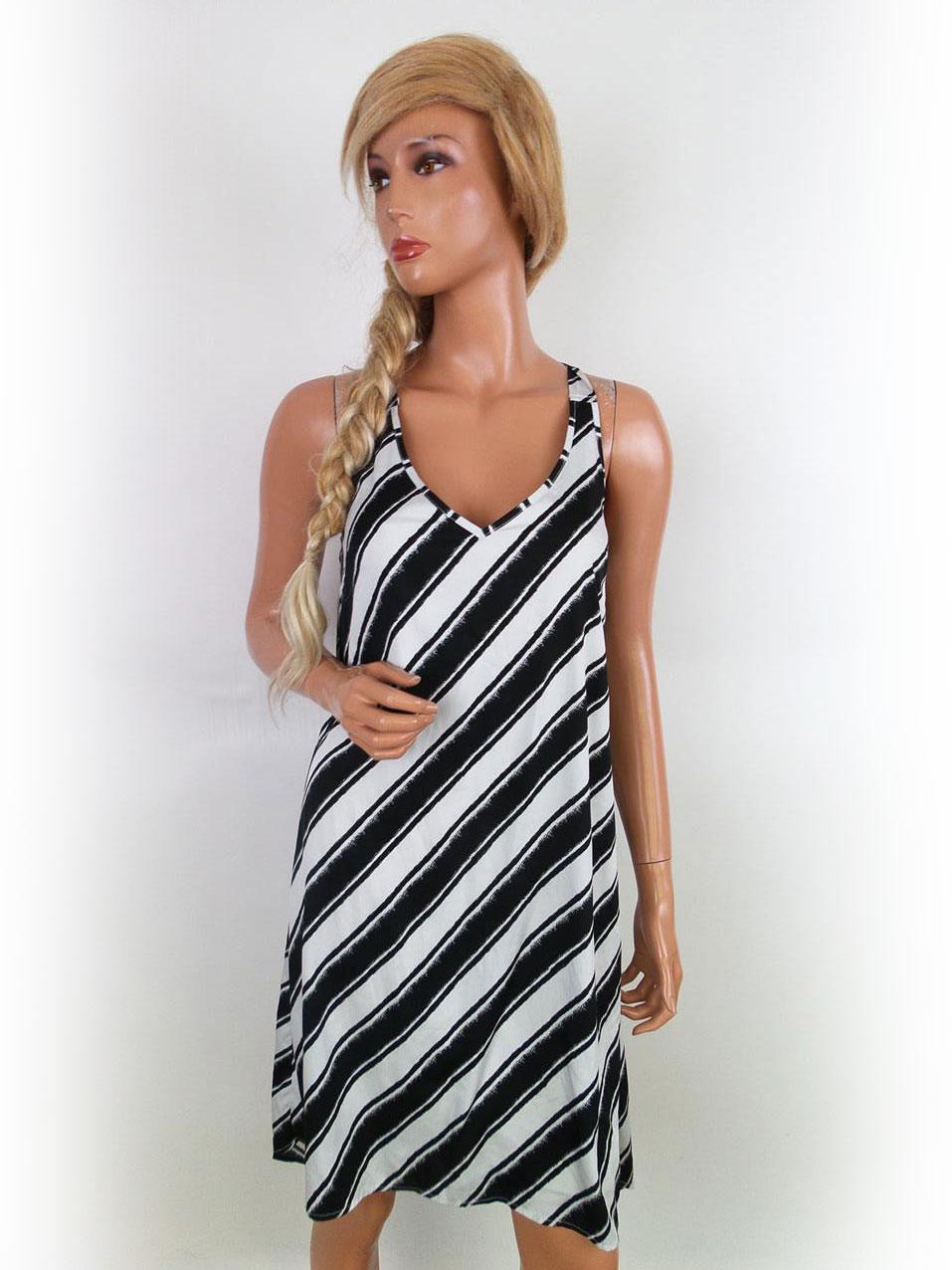 Streifen Kleid Asymmetrischen 36 Schwarzen Amp; H Größe Weißen M Und A543jqRL