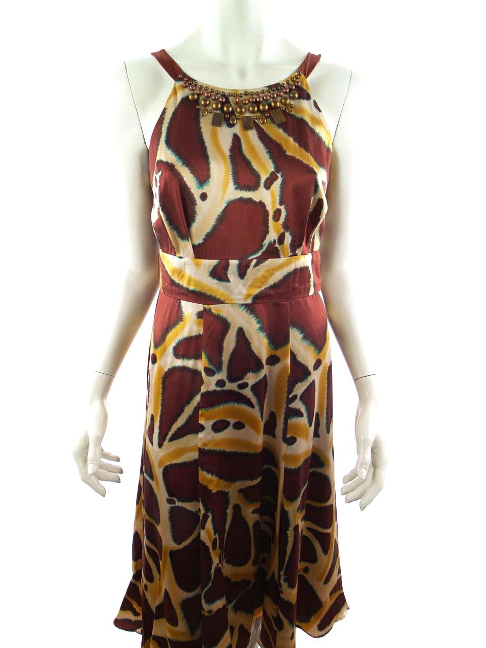 17428d3417d ... Monsoon XS tragtformet kjole mønster 100% silke brun. <>