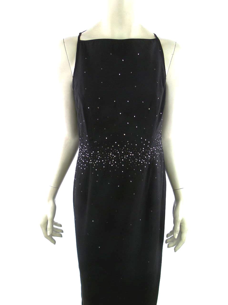 ca0f4dc235e Saint Tropez str M Lang sort paillet kjole | RomanticFashion.se